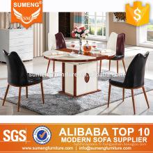 dernières conceptions de marbre top bois étendre les tables à manger ensemble
