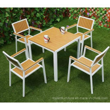 Modern Patio Outdoor Garden Furniture Set Aluminum Polywood Table Chairs for Hotel Restaurant Bistro Backyard