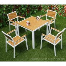 Pátio de pátio moderno conjunto de móveis de jardim ao ar livre Cadeiras de mesa de alumínio em policloro para o Hotel Restaurant Bistro Backyard