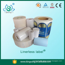 Hochglanzpapieretikett, Linerless-Etikett ohne Basispapier