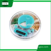 hospital round digital timer with box pill case medicine reminder ood grade plastic Pill Holder with Alarm reminder plastic Case