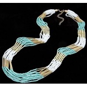 Wholesale Newest Fashion Jewelry Bohemia Multicolor Handmade Cylinder Beads costume jewelry multi layer long Necklaces for woman