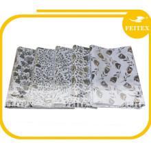Tela de algodón impresa en plata Telas africanas en blanco y negro de Bazin Riche