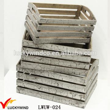 Crack Rustic Finish Antique Small Wood Crates Box