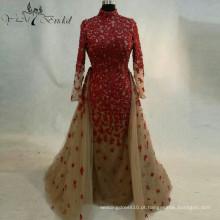 2016 Red Flower Appliques Vestido de casamento New Style Bridemaid Dress Removable Train Elegant Dress