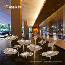 Chinoise nouvelle décoration décoration intérieure décoration haute qualité en acier inoxydable lotus ensemble de fleurs