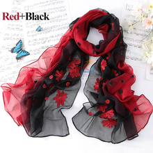 Women High Quality Fashion New Design Flower embroidered Long Pure Silk Scarf Shawl 100% Silk Shawl