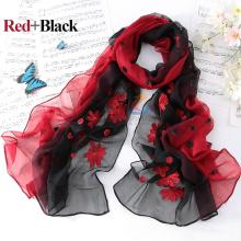 Mulheres moda de alta qualidade flor design novo bordado longo seda pura cachecol xale 100% seda xaile