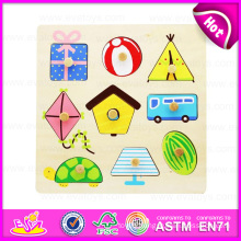 2015 New Organic Fashion Wooden Puzzle with Knob, Funny Play Wooden Puzzle Toy, Best Price Hand Grasp Wooden Puzzle Game W14m064