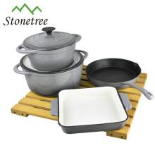 Grey Color Cast Iron Cookware Set 4pcs
