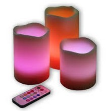 Paraffin wax remoted flameless LED pillar candle