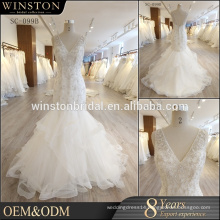 Alibaba New Design plus size wedding dresses with sleeves