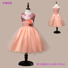 Nuevos vestidos de princesa real niña de las flores Lentejuelas Sash longitud de té Tulle Infant Toddler Girls Dresses Party Dress