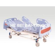 (A-35) Lit d'hôpital manuel à trois fonctions mobile avec tête de lit ABS