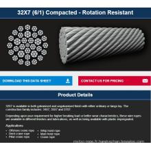 Offshore / treuil / grue non-rotation compacte câble métallique 32 * 7K