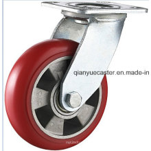 Heavy Duty PU en rueda giratoria de aluminio giratorio
