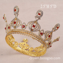 Gold Plated Crystal Peacock Full Round Crown