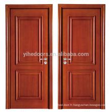 Porte en bois massif de luxe à 2 panneaux peints pour chambre à coucher
