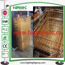 Golden Steel Wire Shopping Basket for Cosmetic Store