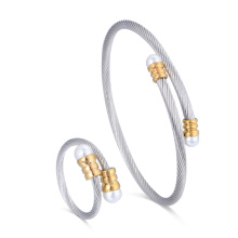 Joyería de moda personalizada de acero quirúrgico Stretch Cable Bangle Jewelry Pearl Pearl Ring Set