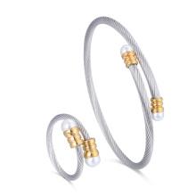 Bijoux de mode personnalisé en acier chirurgical Stretch câble Bracelet bijoux perle Bracelet Ring Set