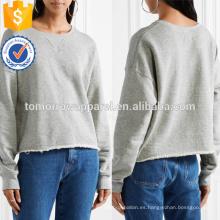 Camiseta francesa deshilachada gris clara de Terry del algodón OEM / ODM Fabricación al por mayor ropa de las mujeres de la moda (TA7030H)