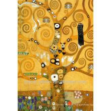 Abstrato, dourado, árvore, parede, arte, óleo, pinturas