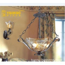 Decorative European Art and Classical Steel and Glass Pendant Lamp