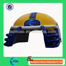 Gigante inflável rubi capacete para venda capacete de futebol inflável capacete túnel para futebol jogo