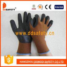 Braunes Nylon mit schwarzem Nitril-Handschuh-Dnn710