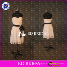Simple Ivory Lace Sweetheart A Line Short Party Dress With Black Ribbon
