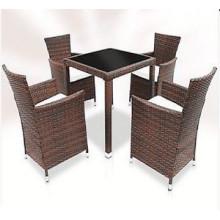 5PCS Ротанг сад Обеденный набор мебели