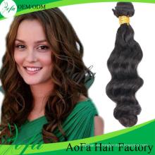 Trama al por mayor del pelo de la extensión del pelo humano del pelo de la Virgen de la onda del cuerpo