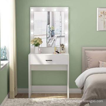 Factory cheap dressing mirror Mirrored Makeup Dresser Desk with LED Light