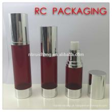 Frasco airless de 30ml / 40ml / 50ml, frasco airless redondo de alumínio, frasco cosmético airless