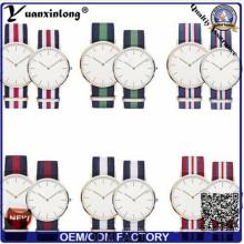 Yxl-549 Мода из нержавеющей стали бренда бренда пару любовника Нейлон ремешок часы НАТО наручные часы