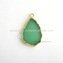 925 de plata de ley Micron oro chapado en Onyx verde Gemstone Bezel estación Bisel Conector y encanto Fabricante