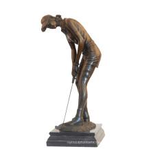 Sport Messing Statue Golfer Carving Bronze Skulptur Tpy-902