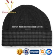 Mens atacado de alta qualidade Cashmere Cable Knit Cuff Beanie Hat Atacado