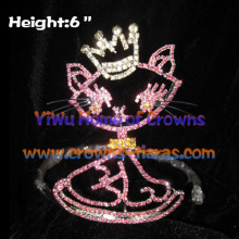 6inch Rhinestone Cat Baby Crowns
