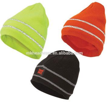 Plain tricotado reflexivo beanie hat, 100% acrílico tricotado chapéu beanie com listras reflexivas