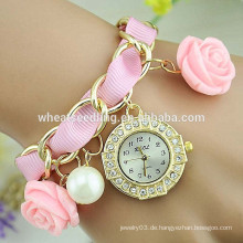 Ausgezeichnete Dame geflochtene rosafarbene hängende Diamantgroßverkauf preiswerte Uhr