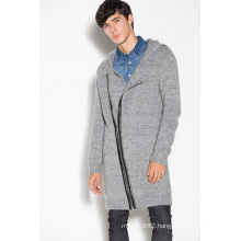 Winter Hoodie Knitted Unisex Long Cardigan with Zipper