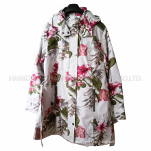 White Basement Flower PVC Raincoat for Adult