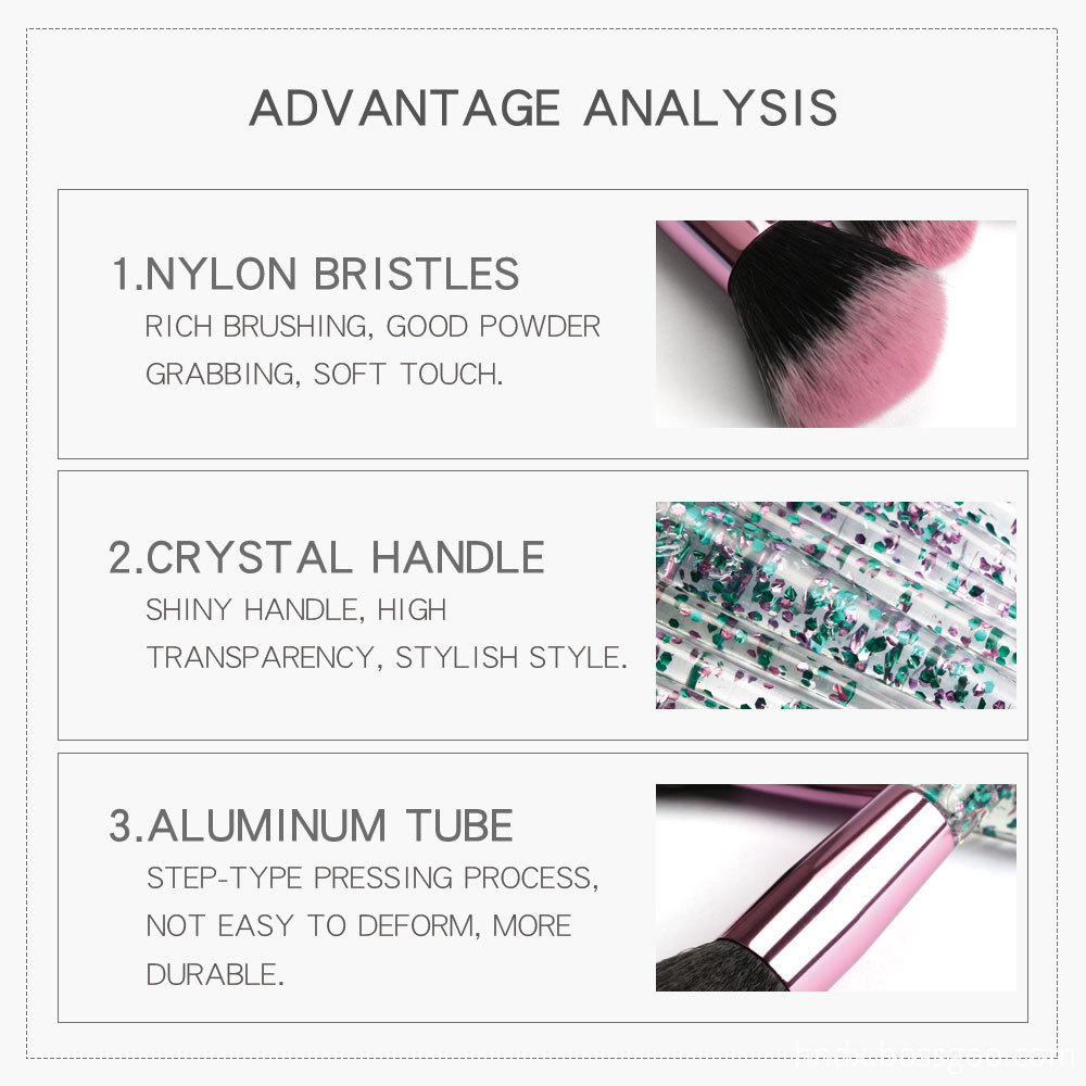 Crystal Rhinestone Makeup Brushes Set 1-2