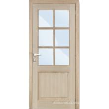 Puertas interiores Diseño para el hogar MDF Puerta de madera maciza con vidrio