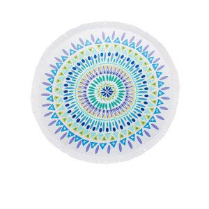 Microfiber Large Printed Round Beach Towel With Tassels