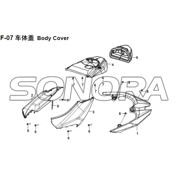 F-07 Body Cover XS150T-8 CROX per SYM Spare Part Top Quality