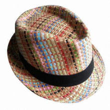 2013 Popular Design Unisex Paper Straw Fedora Hat, OEM Orders are Welcome, Customized Logos Accepted