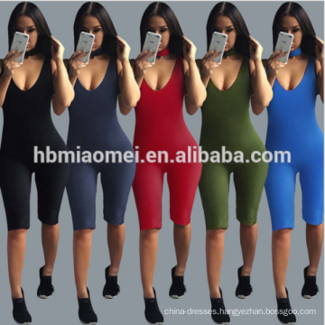 Summer Hot Sporty Women Adult Short Jumpsuit Sexy Black Sleeveless Bodycon Jumpsuit 2017